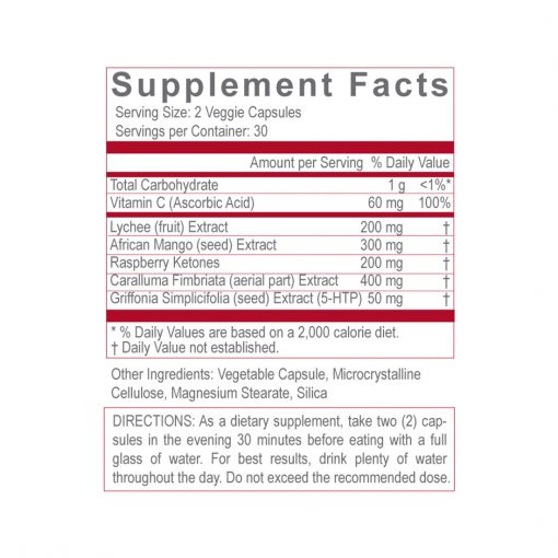30 night diet supplement facts